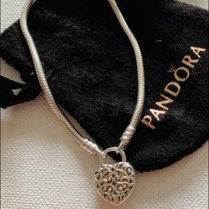 "07b5ef296 ... Pandora Sterling Padlock Regal Heart Bracelet 7.9"" Pandora Sterling  Silver ..."